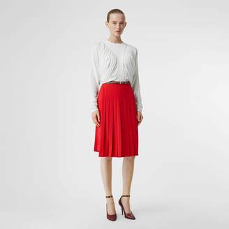 Burberry Long-sleeve Ruched Panel Jersey Oversized Top