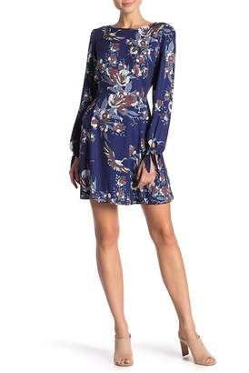 Hale Bob Floral Tie Sleeve Dress