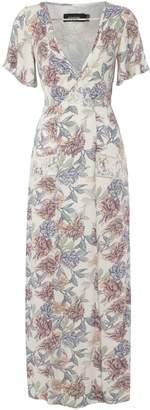 MinkPink Mink Pink V Neck Short Sleeves Floral Print Maxi Dress
