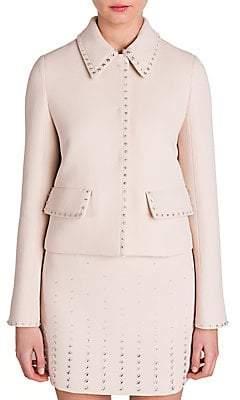 Miu Miu Women's Jewel-Trim Cropped Wool Jacket