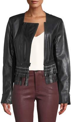 Herve Leger Jiana Grommet-Fringe Leather Moto Jacket