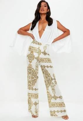 Missguided Cream Chain Print Wide Leg Pants