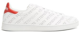 Vetements - Low Top Perforated Leather Trainers - Womens - Red White