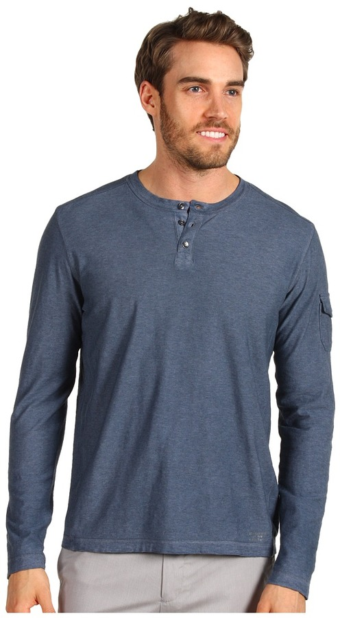 Calvin Klein Jeans L/S Henley Cold Pigment Triblend Top (Miners Coal) - Apparel