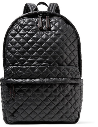 MZ Wallace - Metro Leather-trimmed Quilted Shell Backpack - Black $245 thestylecure.com