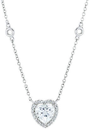 Kiki McDonough Grace 18k White Gold White Topaz Heart Pendant Necklace