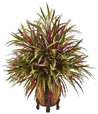 Nearly Natural Autumn Foliage Grass in Decorative Vase