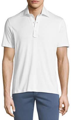 Isaia Heathered Cotton 3-Button Polo Shirt