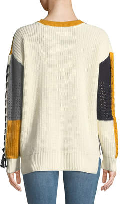 Dex Colorblocked Lace-Up Pullover Sweater