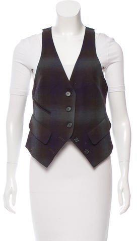 Elizabeth And JamesElizabeth and James Plaid Patterned Wool Vest