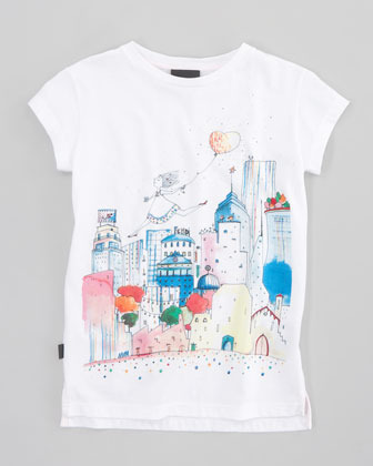 Fendi City-Print Tee, Sizes 6-8