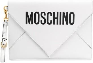 Moschino logo print clutch bag