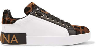 Dolce & Gabbana Logo-embellished Leather And Leopard-print Calf Hair Sneakers - Leopard print