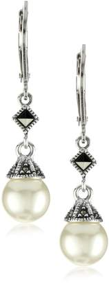 Judith Jack Sterling Marcasite and Simulated Pearl Drop Earrings