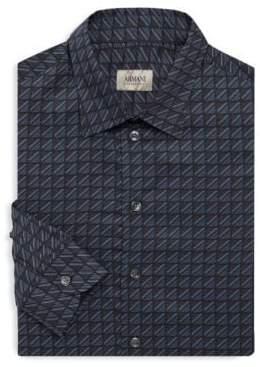 Armani Collezioni Square-Print Long Sleeve Shirt
