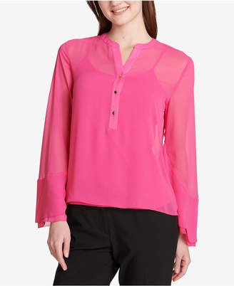Calvin Klein Sheer Chiffon Bell-Sleeve Blouse