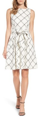 Women's Anne Klein Windowpane Plaid Fit & Flare Dress $129 thestylecure.com