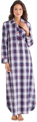 PajamaGram Ladies Nightgown Soft Flannel - Plaid Nightgown