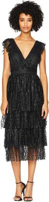 Marchesa Flutter Sleeve V-Neck Glitter Tulle Cocktail with Tiered Skirt Women's Dress