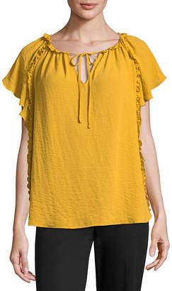 WORTHINGTON Worthington Short Sleeve Split Crew Neck Georgette Blouse