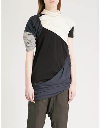Drkshdw Branch draped cotton-jersey T-shirt