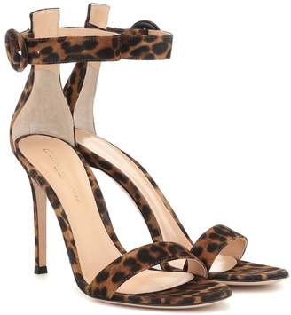 Gianvito Rossi Portofino 105 leopard-print sandals