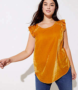 LOFT Plus Velvet Button Ruffle Shell