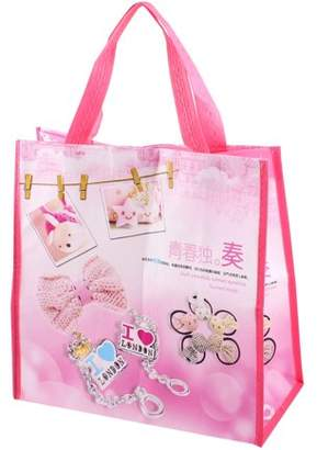 Unique Bargains Hook Loop Fastener Foldable Bowtie Pattern Shopping Tote Bag Pink White