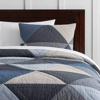 Pottery Barn Teen Huntley Patch Quilt, Full/Queen, Blue Multi