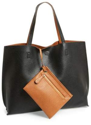 Street Level Black Tan Reversible Tote