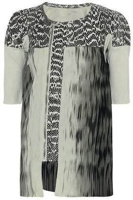 Rick Owens Python-Paneled Cotton-Jersey And Printed Silk-Chiffon Top