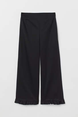 H&M Ruffle-trimmed Pants - Black