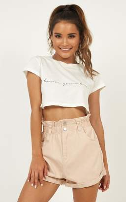 Showpo Hold Onto What You Believe shorts in blush
