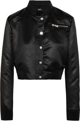 Versus Versace - Cropped Embellished Satin Bomber Jacket - Black