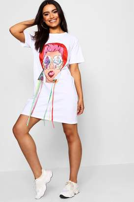 boohoo Bethany Face Motif T-Shirt Dress