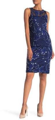 Carmen Marc Valvo Embroidered Sheath Dress