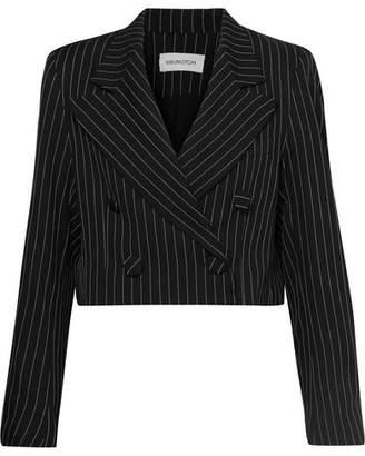 16ARLINGTON - Cropped Pinstriped Twill Blazer - Black