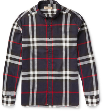 Burberry Slim-Fit Button-Down Collar Checked Cotton-Flannel Shirt $350 thestylecure.com