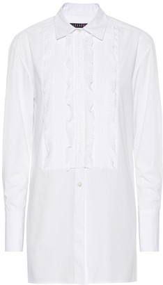 ALEXACHUNG Lace-trimmed cotton poplin shirt
