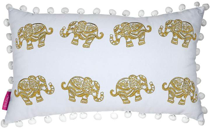 Metallic Elephant-Embroidered Pom Pom-Trimmed Indoor Canvas Pillow