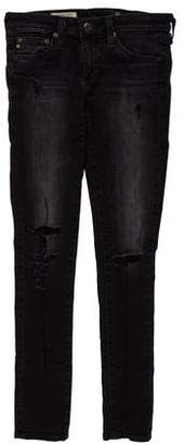 Adriano Goldschmied The Legging Ankle Logo Embellished Distressed Low-Rise Jeans
