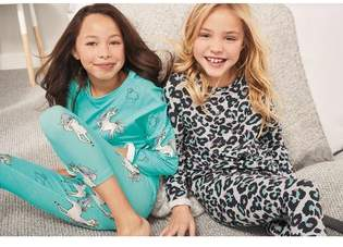 Next Girls Blue/Grey Unicorn/Leopard Legging Pyjamas Two Pack (3-16yrs)