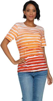 Denim & Co. Painterly Stripe Printed Short Sleeve Knit Top