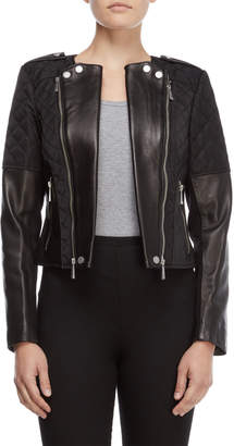 BCBGMAXAZRIA Leather Quilted Jacket