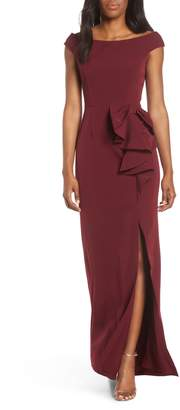 Vince Camuto Bow Ruffle Scuba Crepe Gown