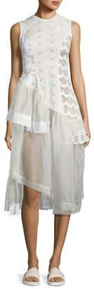 Simone Rocha Sleeveless Eyelet Lace & Organza Patchwork Dress