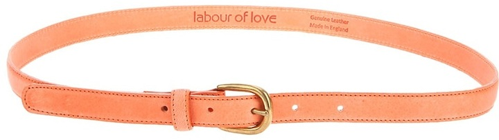 Labour Of Love coral leather skinny belt