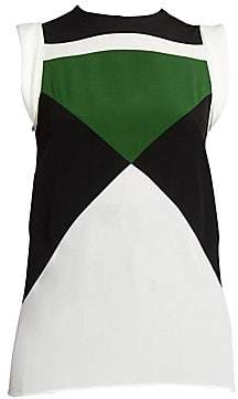 Givenchy Women's Silk Sleeveless Colorblocked Top
