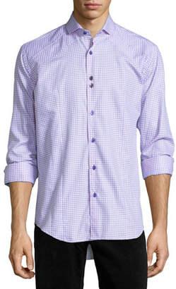 Bogosse Houndstooth Long-Sleeve Sport Shirt, Pink