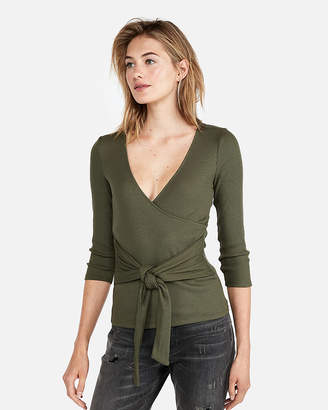 Express Petite One Eleven Modern Rib Wrap Front Tee
